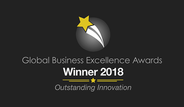 Global Business Award Logo with the text 'Global Business Excellence Awards, Winner 2018, Outstanding Innovation'