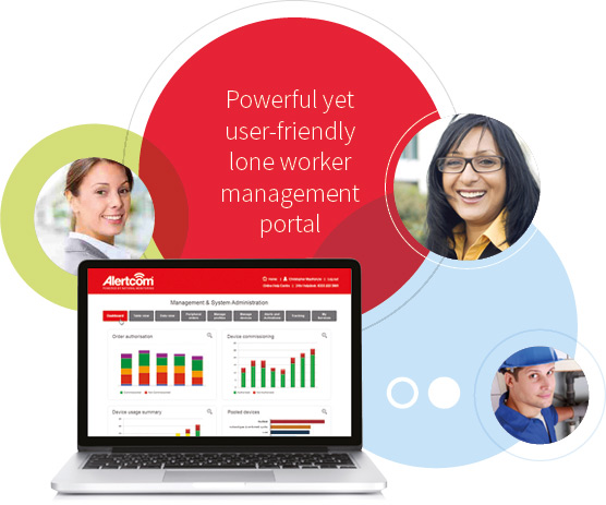 Graphic with the text 'Powerful yet user-friendly lone worker management portal'