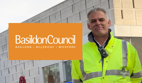 Basildon Council Logo next to a Lone worker wearing a T4 Lone Worker Device