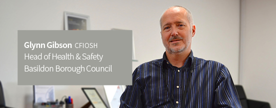 A photo of Glynn Gibson with text 'CFIOSH Head of Health & Safety, Basildon Borough Council'